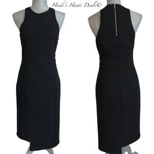 NICHOLAS Black Side Band Knit Sheath Dress LBD 4
